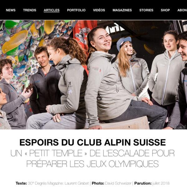 Artikel Kletternationalmannschaft; 30° Degrés Magazine, Kletterfotograf, Sportfotografie, Klettern
